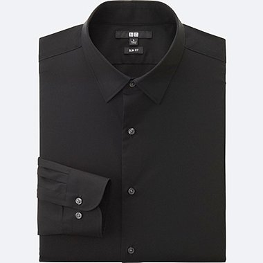 MEN EASY CARE SLIM-FIT BROADCLOTH LONG SLEEVE SHIRT, BLACK, medium