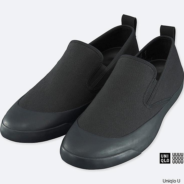MEN U CANVAS SLIP-ON, BLACK, large