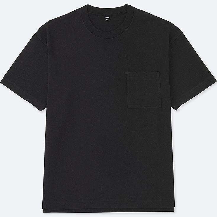 MEN OVERSIZED SHORT SLEEVE CREWNECK T-SHIRT, BLACK, large