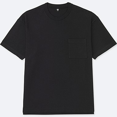 MEN OVERSIZED SHORT SLEEVE CREWNECK T-SHIRT, BLACK, medium