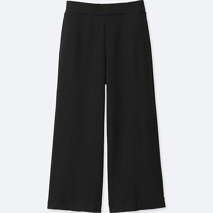 WOMEN MILANO RIBBED CUT SEWN ANKLE WIDE PANTS, BLACK, large