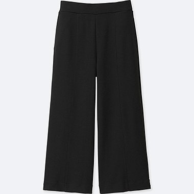 WOMEN Milano Ribbed Cut Sewn Ankle Wide Pants