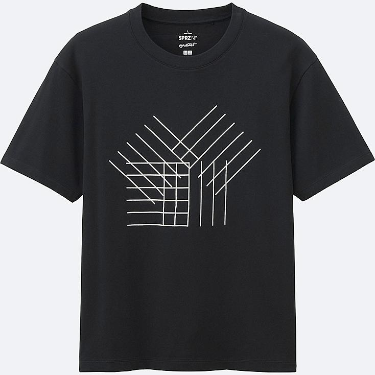 MEN SPRZ NY Super Geometric GRAPHIC T-SHIRT (FRANCOIS MORELLET), BLACK, large