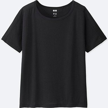 WOMEN AIRism CREW NECK SHORT SLEEVE T-SHIRT, BLACK, medium