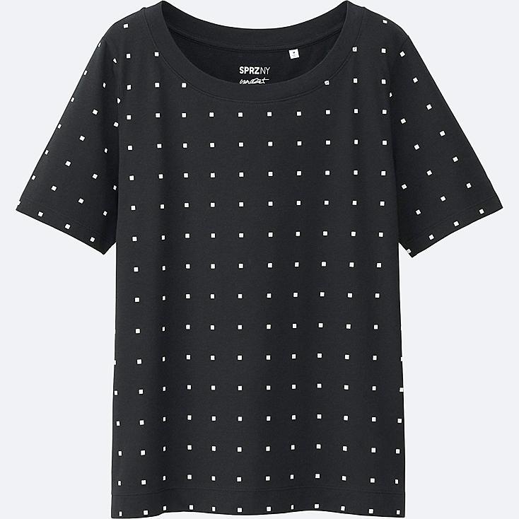 WOMEN SPRZ NY Super Geometric GRAPHIC T-SHIRT (FRANCOIS MORELLET), BLACK, large