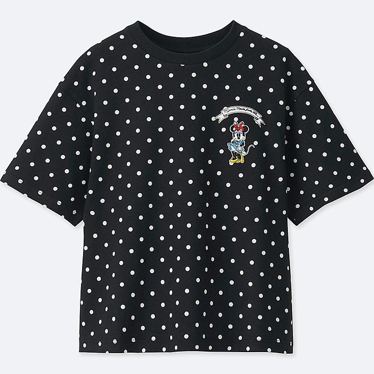 WOMEN Disney (MINNIE MOUSE LOVES DOTS) SHORT-SLEEVE GRAPHIC T-SHIRT, BLACK, large