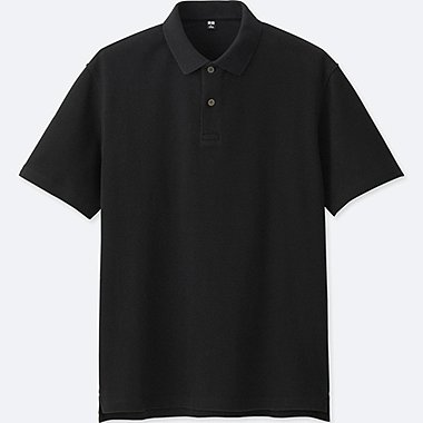 MEN RELAXED FIT SHORT-SLEEVE POLO SHIRT, BLACK, medium