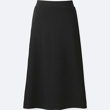 WOMEN MILANO RIBBED MIDI SKIRT, BLACK, medium