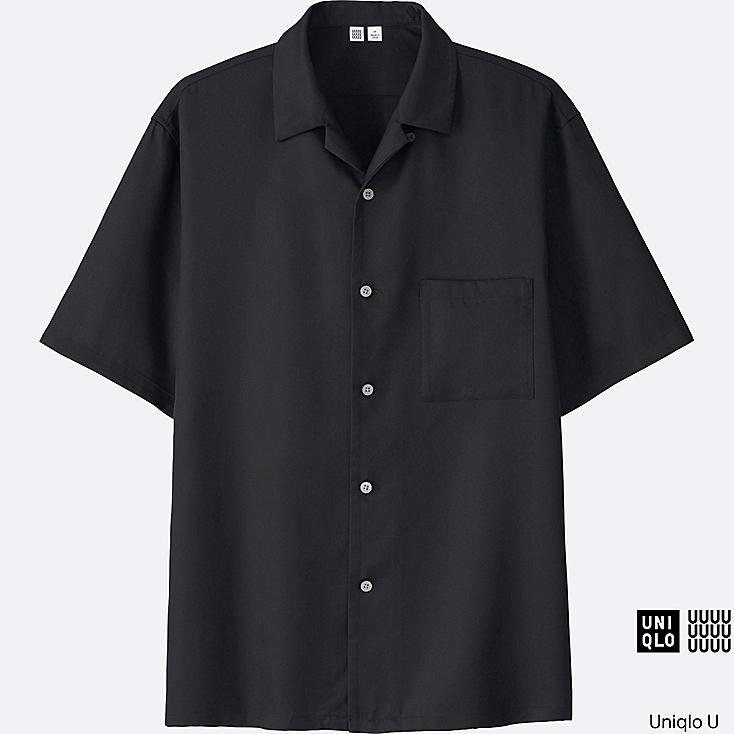 MEN U OPEN COLLAR SHORT-SLEEVE SHIRT, BLACK, large
