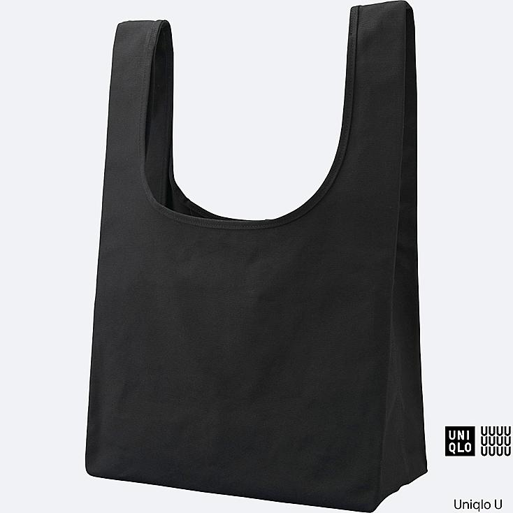 U CANVAS TOTE BAG, BLACK, large