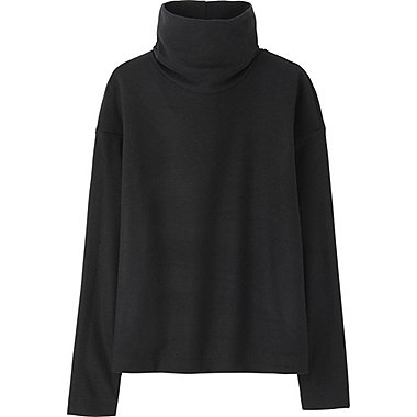 WOMEN HEATTECH FLEECE OFF TURTLENECK LONG-SLEEVE T-SHIRT, BLACK, medium