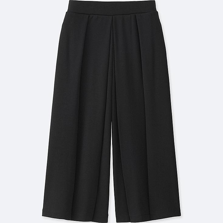 WOMEN JERSEY CROPPED FLARE WIDE PANTS, BLACK, large