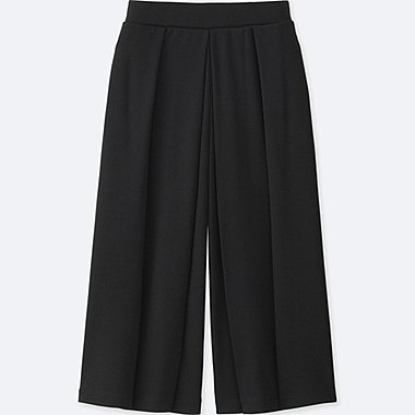 WOMEN JERSEY CROPPED FLARE WIDE PANTS