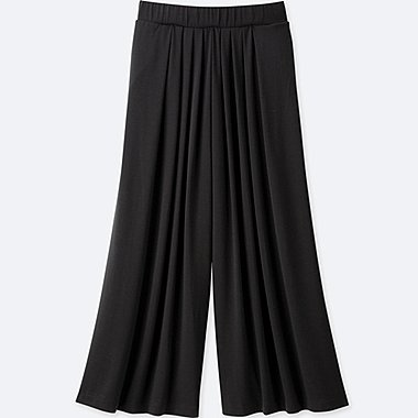 WOMEN TUCK FLARE WIDE PANTS, BLACK, medium