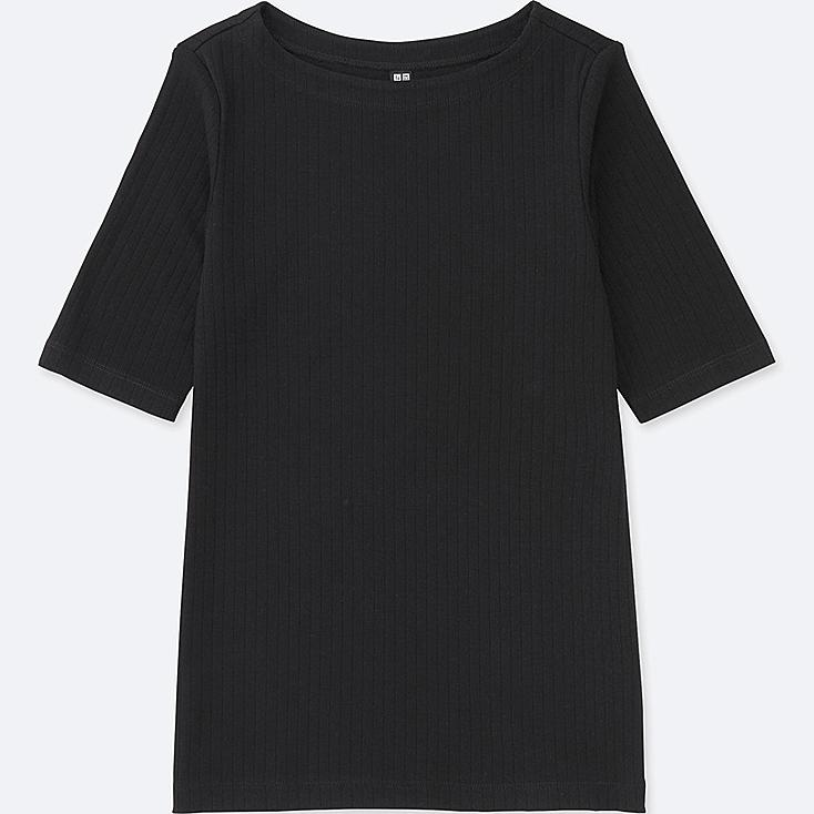 WOMEN RIBBED BOAT NECK HALF SLEEVE T-SHIRT, BLACK, large