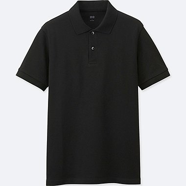 MEN DRY PIQUE SHORT-SLEEVE POLO SHIRT, BLACK, medium