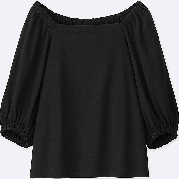 Women 2-Way 3/4 Sleeve Off Shoulder T -Shirt, BLACK, large