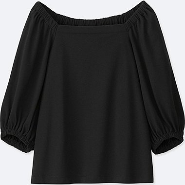 Women 2-Way 3/4 Sleeve Off Shoulder T -Shirt, BLACK, medium
