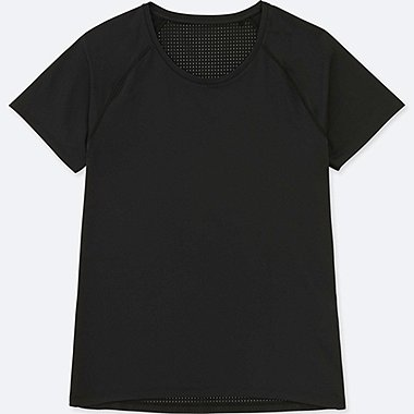 WOMEN DRY COMBINATION SHORT-SLEEVE T-SHIRT, BLACK, medium