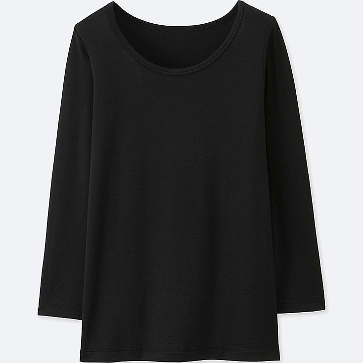 KIDS HEATTECH U-NECK LONG-SLEEVE T-SHIRT, BLACK, large