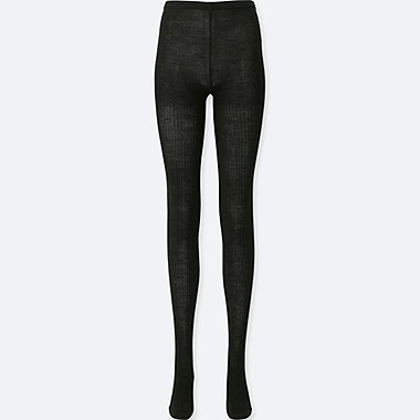 WOMEN HEATTECH RIB KNITTED TIGHTS
