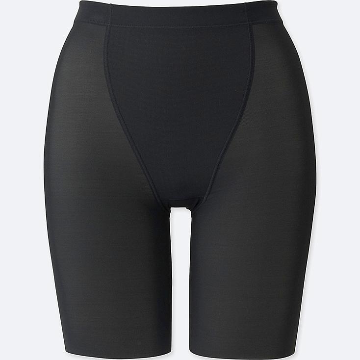 WOMEN BODY SHAPER NON-LINED HALF SHORTS, BLACK, large