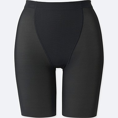 WOMEN BODY SHAPER NON-LINED HALF SHORTS, BLACK, medium