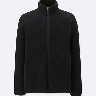 MEN FLEECE LONG-SLEEVE FULL-ZIP JACKET, BLACK, medium