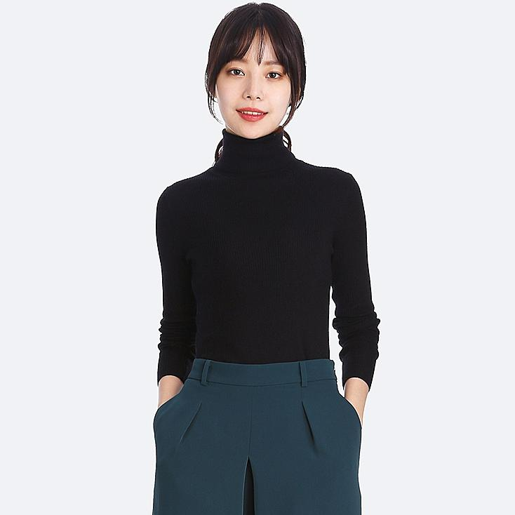 WOMEN EXTRA FINE MERINO RIBBED TURTLENECK SWEATER, BLACK, large