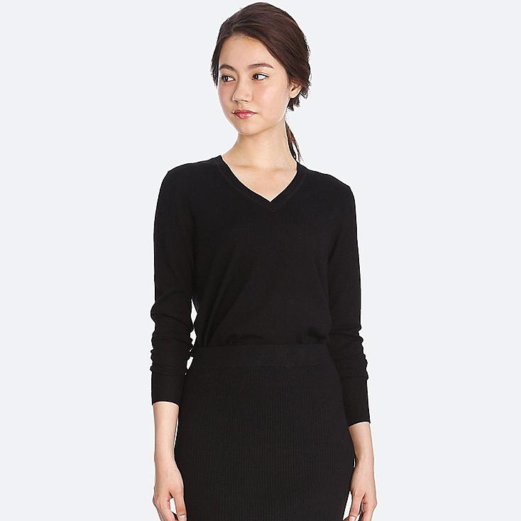 Women Extra Fine Merino V Neck Sweater, BLACK, large