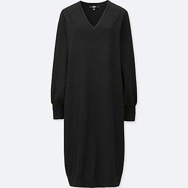 WOMEN MERINO BLEND V-NECK DRESS, BLACK, medium