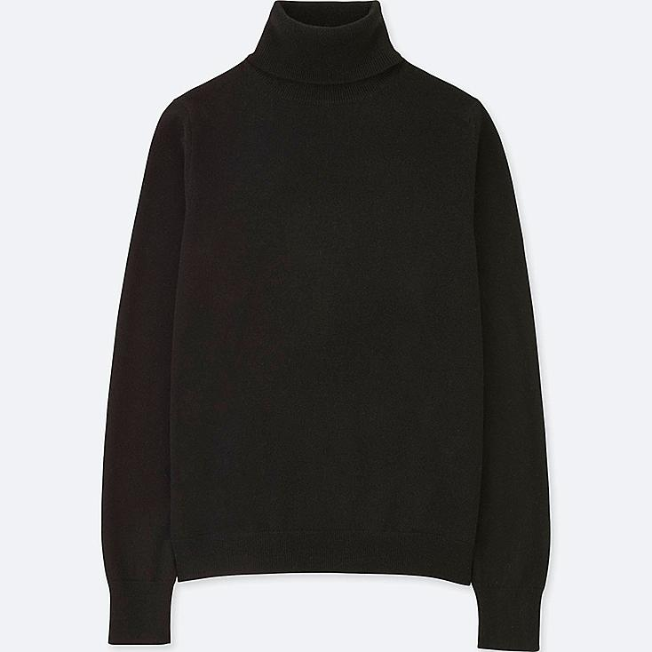WOMEN CASHMERE TURTLENECK SWEATER, BLACK, large