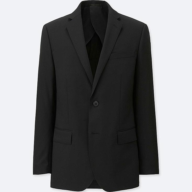 MEN STRETCH WOOL SLIM-FIT JACKET, BLACK, large