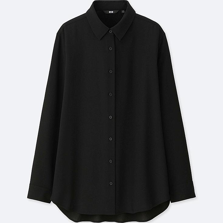 WOMEN RAYON LONG-SLEEVE BLOUSE, BLACK, large