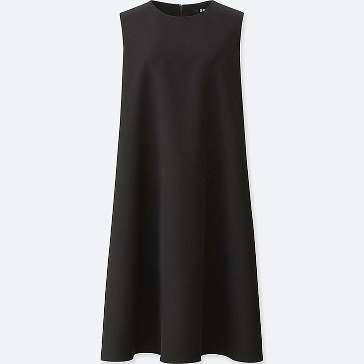 WOMEN DRAPE A-LINE SLEEVELESS DRESS, BLACK, large