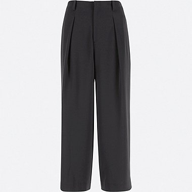 WOMEN DRAPE WIDE LEG ANKLE LENGTH TROUSERS