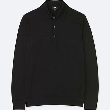 Polo manga larga de lana extra fina de merino HOMBRE