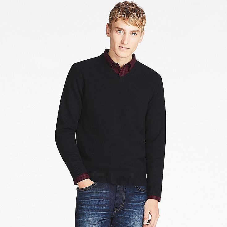 Lambswool V Neck Sweater, BLACK, large