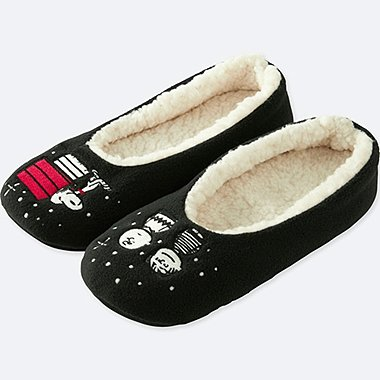 PEANUTS FLEECE SLIPPERS, BLACK, medium