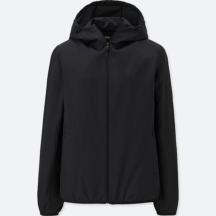 WOMEN POCKETABLE PARKA, BLACK, large