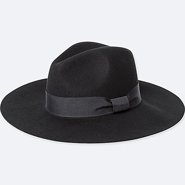 WOMEN WOOL WIDE BRIM FEDORA HAT, BLACK, medium