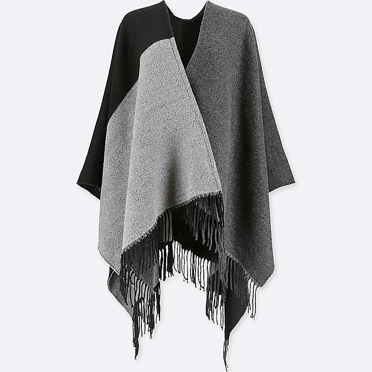 WOMEN COLORBLOCK 2-WAY STOLE, BLACK, large