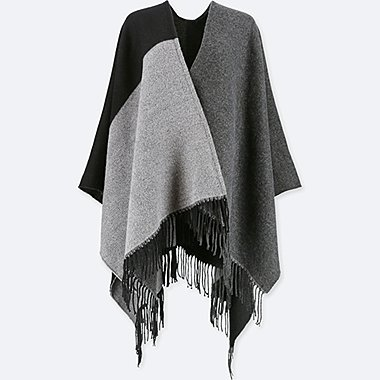 WOMEN COLORBLOCK 2-WAY STOLE, BLACK, medium