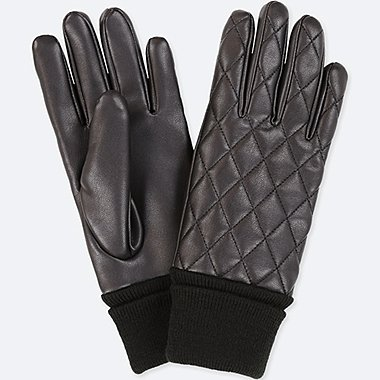 WOMEN QUILTED GLOVES, BLACK, medium