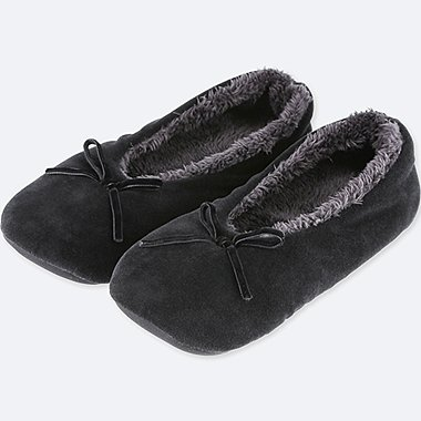 WOMEN VELOUR ROOM BALLET SHOES, BLACK, medium