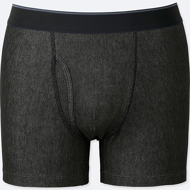 MEN SUPIMA COTTON BOXER BRIEFS, BLACK, large
