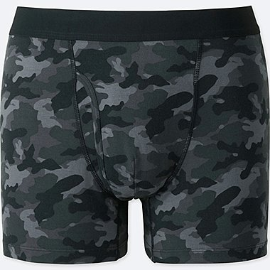 MEN SUPIMA® COTTON PRINTED BOXER BRIEFS, BLACK, medium