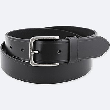 MEN ITALIAN BRIDLE LEATHER BELT, BLACK, medium