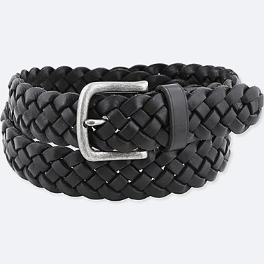 MEN LEATHER WOVEN WIDE BELT