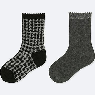GIRLS REGULAR SOCKS (2 PAIRS), BLACK, medium